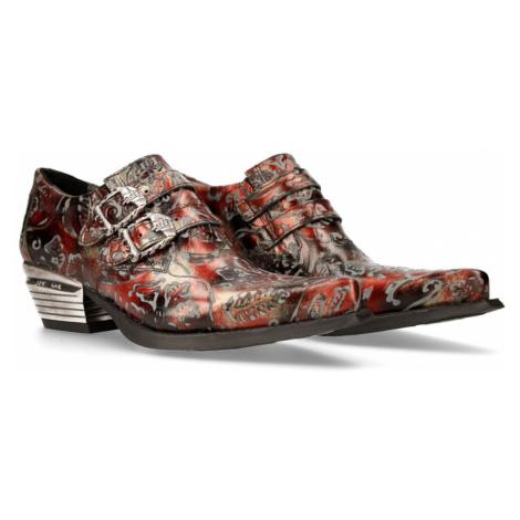 topánky kožené NEW ROCK VINTAGE-2 FLOWER ROJO Čierna