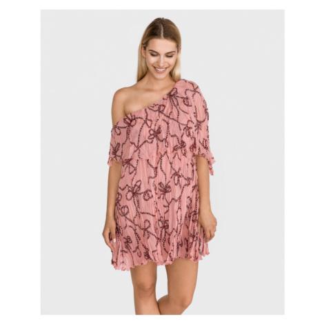 Béžové šaty na jedno rameno