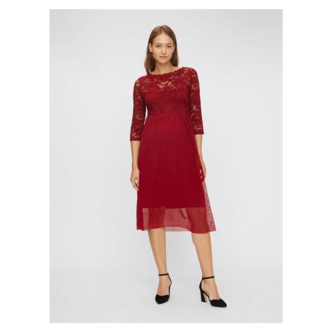 Vínové tehotenské šaty s krajkovým topom Mama.licious Mama Licious