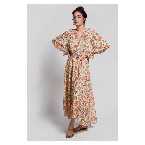 Béžovo-oranžová kvetovaná zavinovacia sukňa Daria
