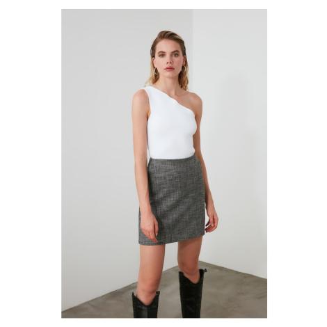 Trendyol Grey Pocket Detailed Tweed Skirt