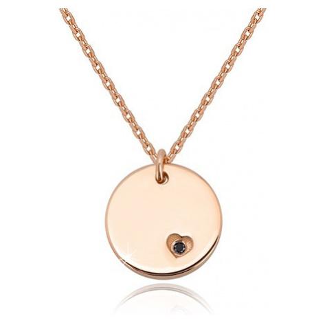 Strieborný náhrdelník 925 - okrúhla známka, čierny diamant v srdiečkovom záreze