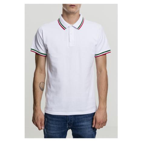 Pánska polokošeľa URBAN CLASSICS Double Stripe Poloshirt white/green/firered