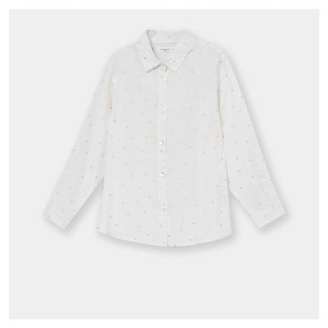 Sinsay - Dievčenská košeľa s mikropotlačou - Biela