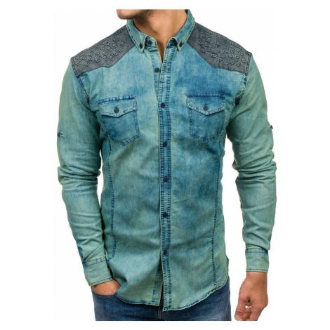 Tmavomodro-šedá pánska vzorovaná riflová košeľa s dlhými rukávmi BOLF 0517-1 MADMEXT