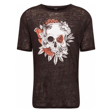 BE EDGY Tričko 'Skull'  biela / svetločervená / čierna