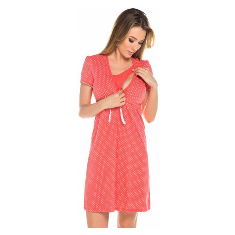Bavlnená tehotenská nočná košeľa Alena koralová Italian Fashion