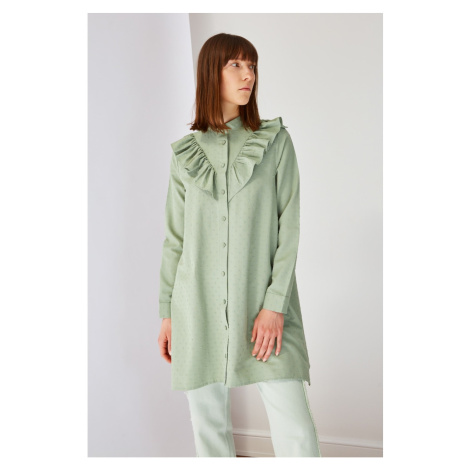 Trendyol Green Top Collar Frilly Tunic