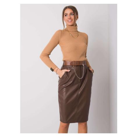 RUE PARIS Brown midi skirt