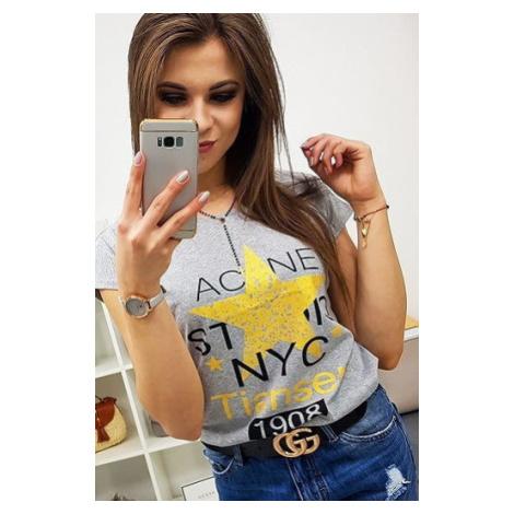 STAR women's T-shirt with print, light gray RY0864 DStreet