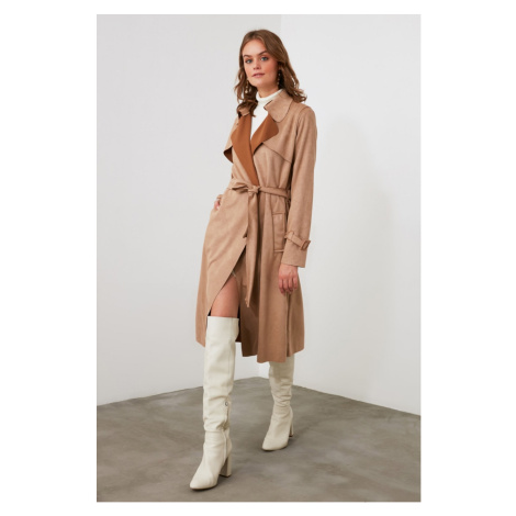 Trendyol Mink Suede Belt Trench Coat