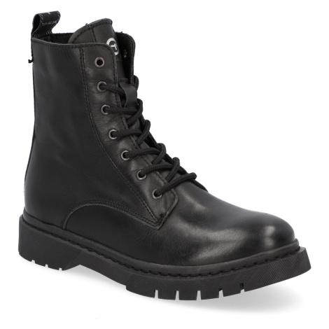 TAMARIS hladká koža snurovacia obuv čierna