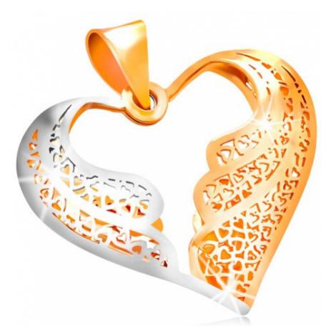 Zlatý prívesok 585 - filigránové srdce s dvojfarebnými anjelskými krídlam