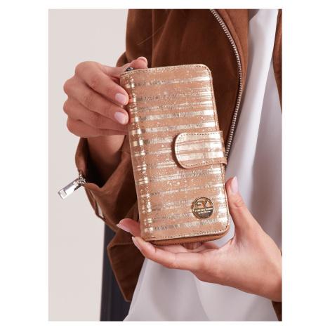 Kožená zlatá pruhovaná peňaženka