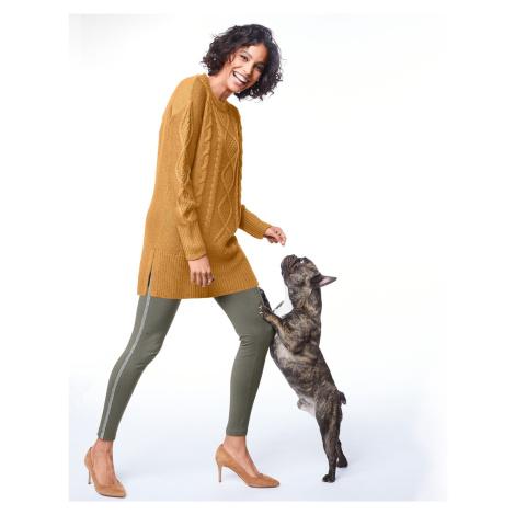 Blancheporte Tuniková pulóver s vrkočovým vzorom medová