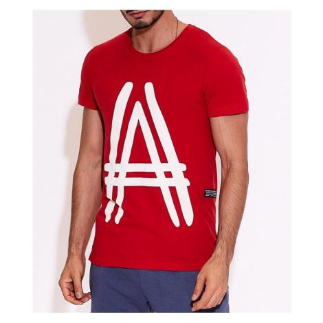červené pánske tričko s potlačou a MECHANICH