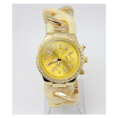 Dámske hodinky Geneva - náramok reťaz Gold Beige