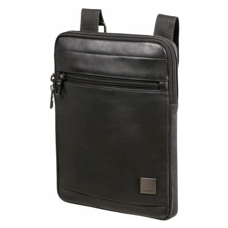 Samsonite Pánska kožená taška cez rameno Hip-Square L 9,7'' - černá