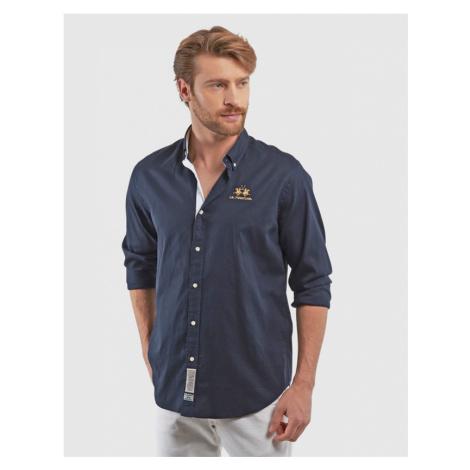 Košeľa La Martina Man L/S Shirt Light Cotton Twi - Modrá