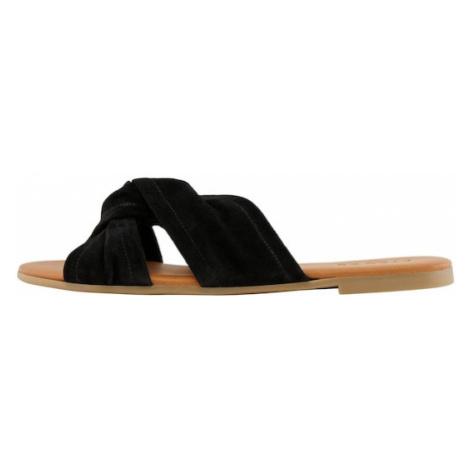 PIECES Sandále  čierna / hnedá