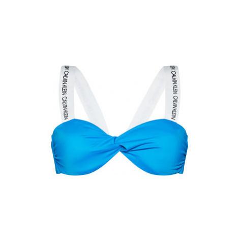 Calvin Klein Swimwear Vrchný diel bikín Twist Bandeau KW0KW00891 Modrá