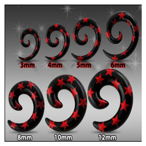 Čierny expander do ucha - špirála s červenými hviezdami - Hrúbka: 8 mm
