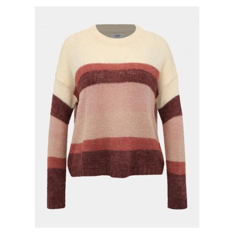 Jacqueline de Yong Cordelia Cream-pink Striped Sweater