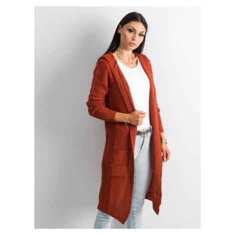 Dlhý oranžový pletený kardigan s kapucňou