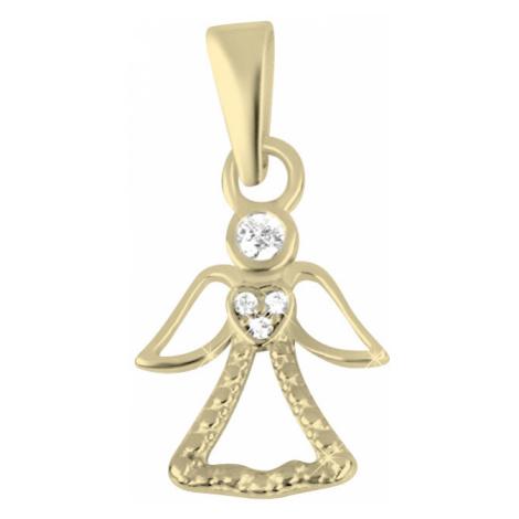 Brilio Pôvabný zlatý prívesok Anjel 001