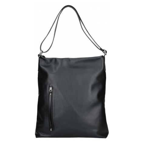 Dámska kožená kabelka Facebag Milen - čierna hladká