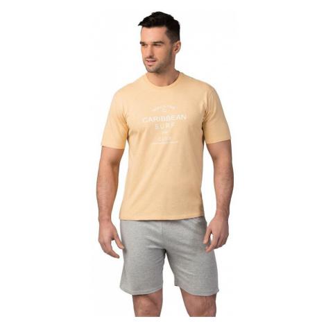 Pánske bavlnené pyžamo Matt žlté Rossli