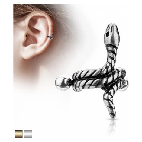 Oceľový piercing do ucha - stočený had s pásikmi na tele - Farba piercing: Zlatá