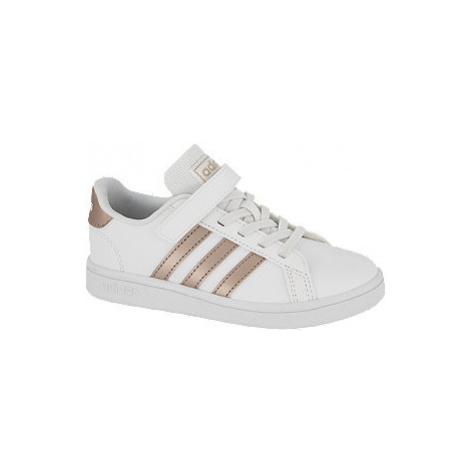Biele tenisky na suchý zips Adidas Grand Court C