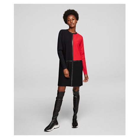 Šaty Karl Lagerfeld Colorblock Knit Dress - Čierna