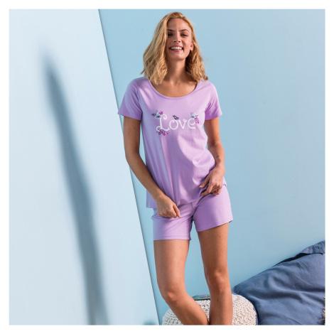 """Blancheporte Pyžamo so šortkami a krátkymi rukávmi, potlač """"mačky"""" lila"""