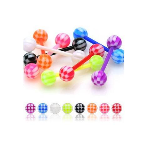 Akrylový piercing do jazyka, farebné guličky s motívom šachovnice - Farba piercing: Zelená