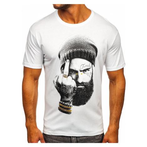 Biele pánske tričko s potlačou Bolf 142175