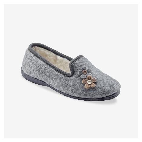 Blancheporte Domáce papuče s motívom kvetín sivý melír