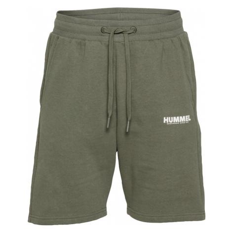 Hummel Športové nohavice  zelená / biela