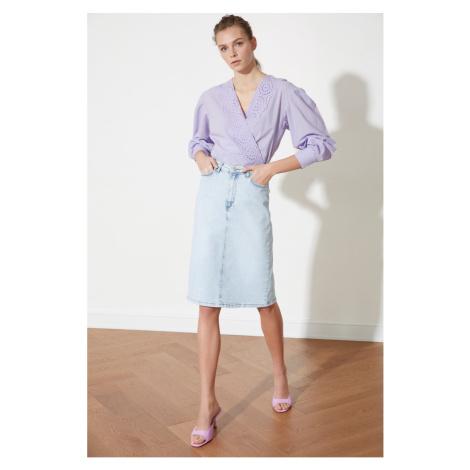Trendyol Light Blue Midi Denim Skirt