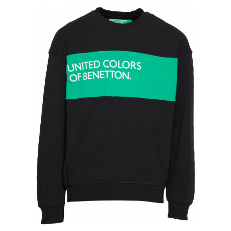UNITED COLORS OF BENETTON Mikina  čierna / zelená / biela