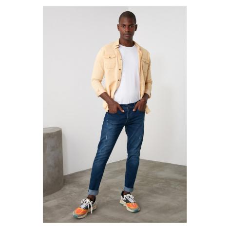 Trendyol Navy Men Skinny Rake Destroylu Jeans