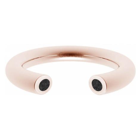 Gravelli Otvorený prsteň s betónom Open bronzová / antracitová GJRWRGA107 mm