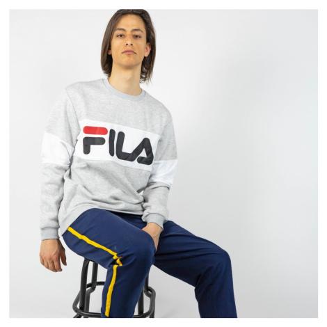Šedo-biele tričko Straight blocked crew Fila