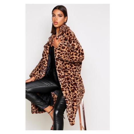 Oversized leopardí kabát Boohoo