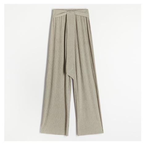 Reserved - Textúrované úpletové nohavice - Zelená