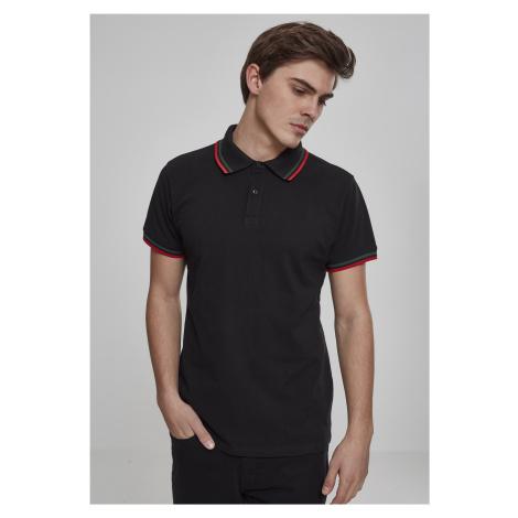 Pánska polokošeľa URBAN CLASSICS Double Stripe Poloshirt black/green/fire red