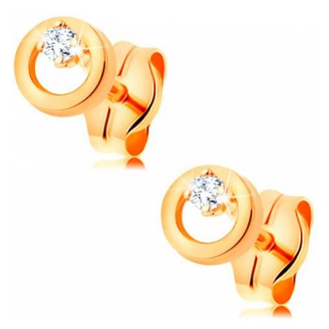 Náušnice zo žltého zlata 585 - žiarivý číry diamant v malej lesklej obruči