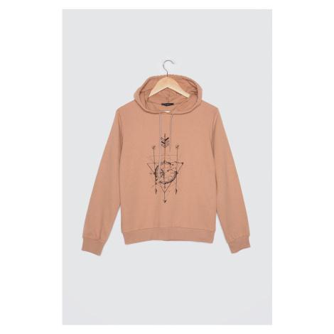 Trendyol Camel Printed Knitted Sweatshirt