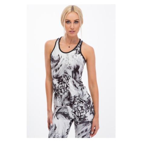 Trendy, biely fitness top s čiernymi vzormi FASARDI